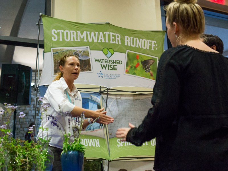 San Antonio River Authority Stormwater Analysis Michelle Garza speaks to conference attendees about runoff water.