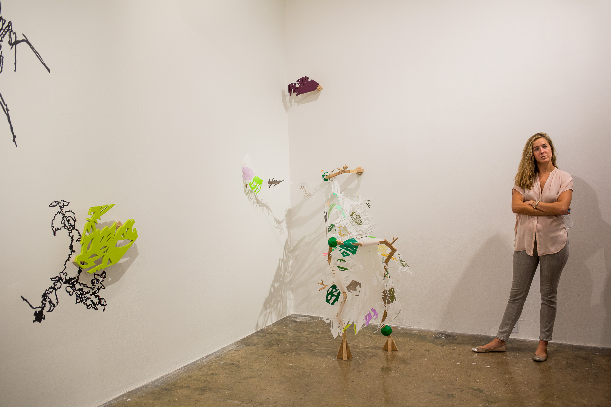 The artwork of Leigh Anne Lester stems from the concept of genetic engineering and cell structures.