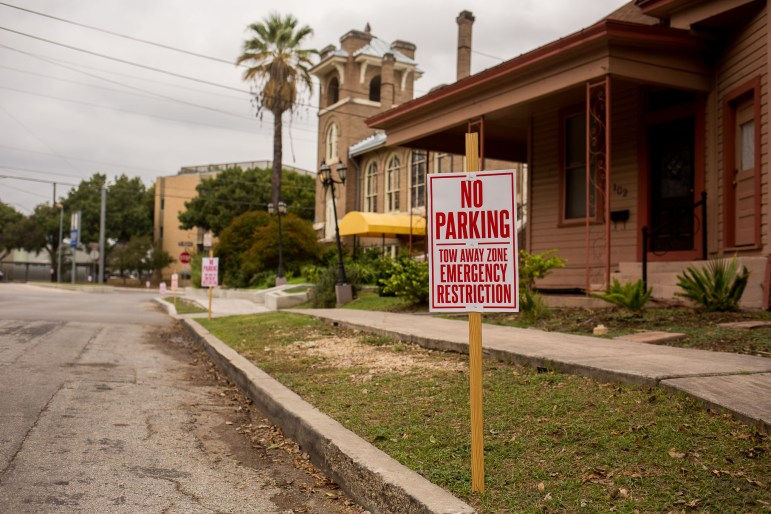 No parking signs in front of Frank in King Williams neighborhood on a First Friday.
