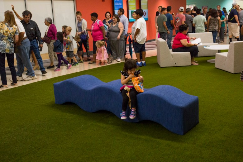 Hundreds of families take tours of the new YMCA.
