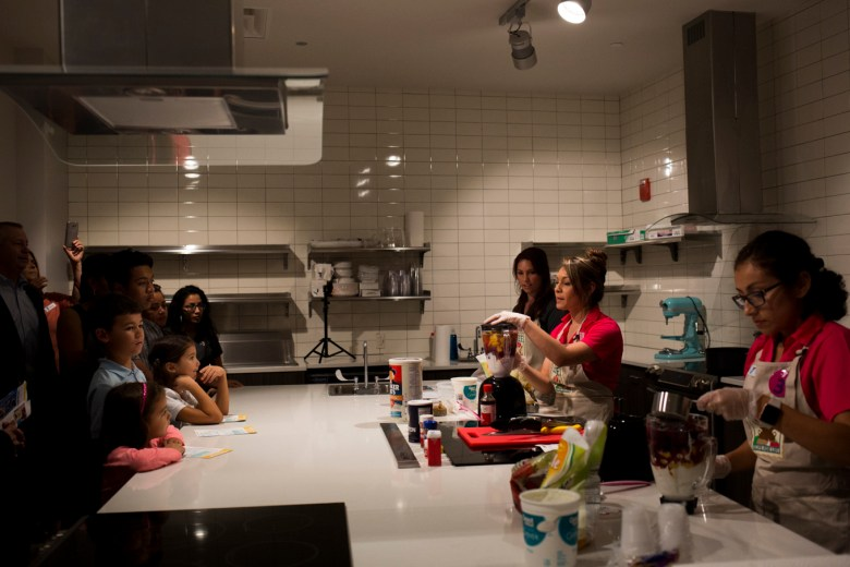 YMCA nutritionists talk about affordable healthy food option in the new kitchen.