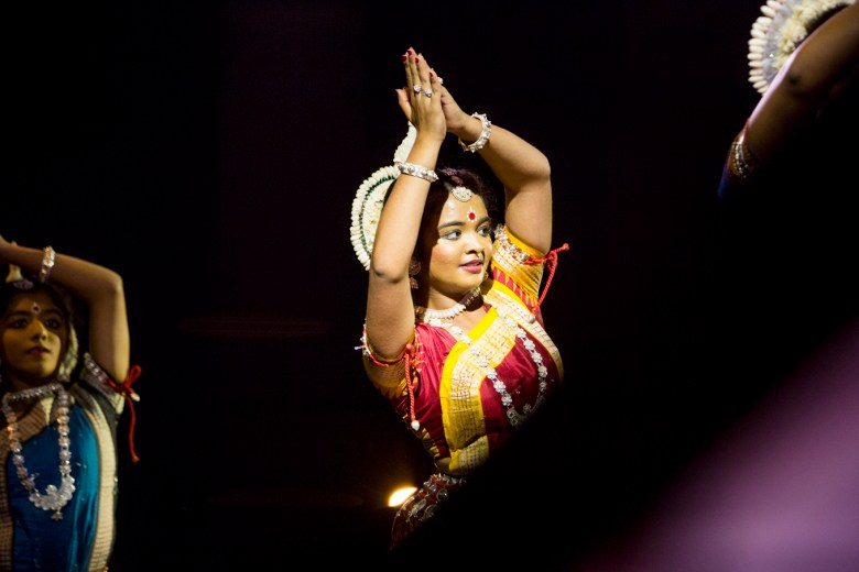 Dancers perform as part of a performance featuring dances from 13 different Indian States.