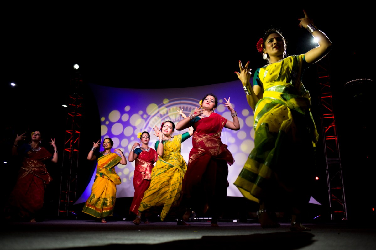 Performers represent a dance from one of 13 Indian states featured.