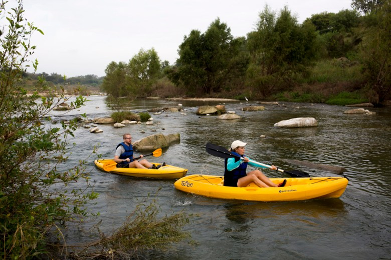 Kayakers participate in the River Relay.