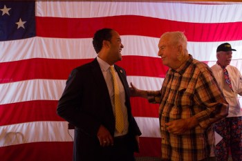 U.S. Rep. Will Hurd (R-San Antonio) and 24 year Chief Charles Monney share a laugh. Monney served from 1948-1972.