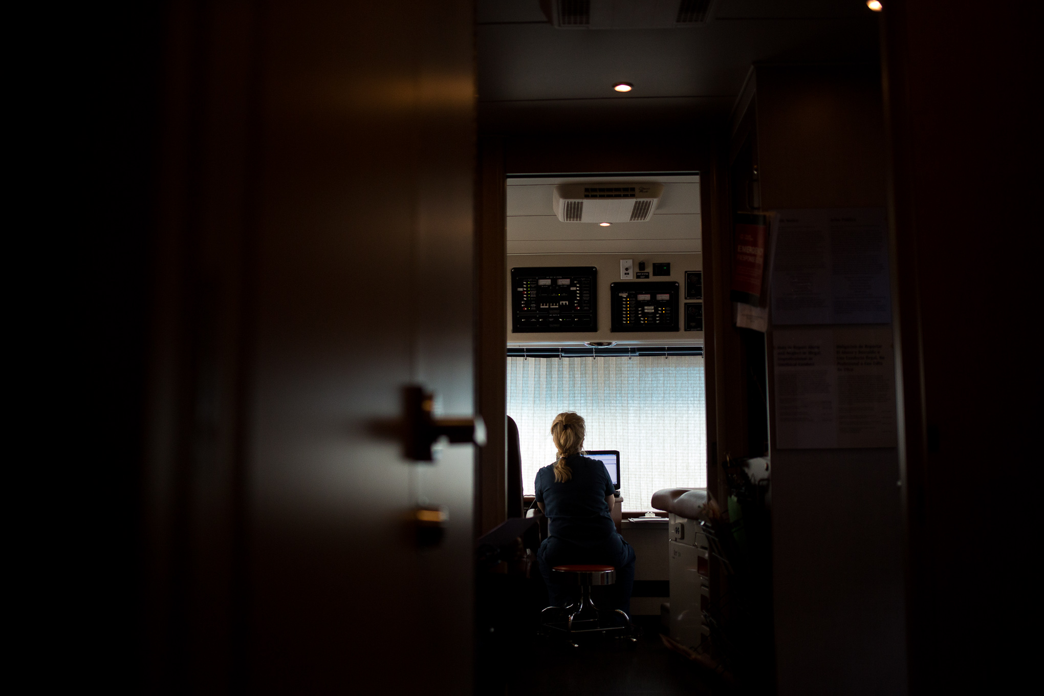 A University Health System Healthy U Express nurse prepares to meet with a patient.