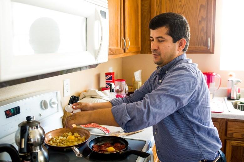 Beytullah Colak makes a potato and egg scramble.