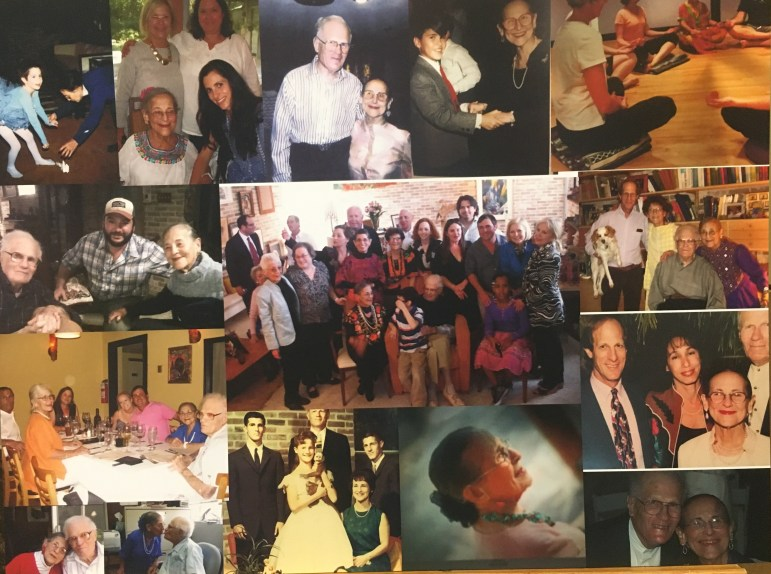 A photo collage displayed at Esther Vexler's memorial service at Temple Beth-El.