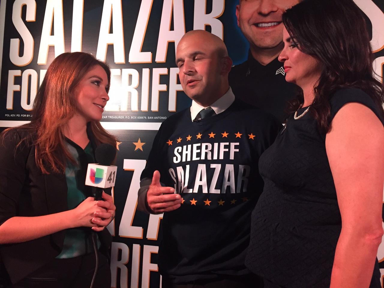 Javier Salazar speaks to a reporter after he surpasses Sheriff Pamerleau.