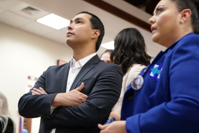 U.S. Rep. Joaquín Castro observes early voting results as they roll in.