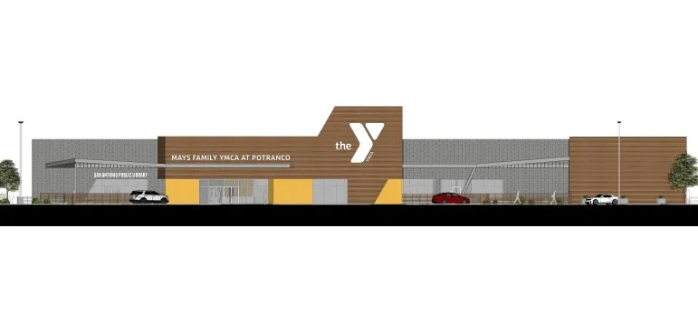 Renderings of the new Potranco Branch Library and Mays Family YMCA.