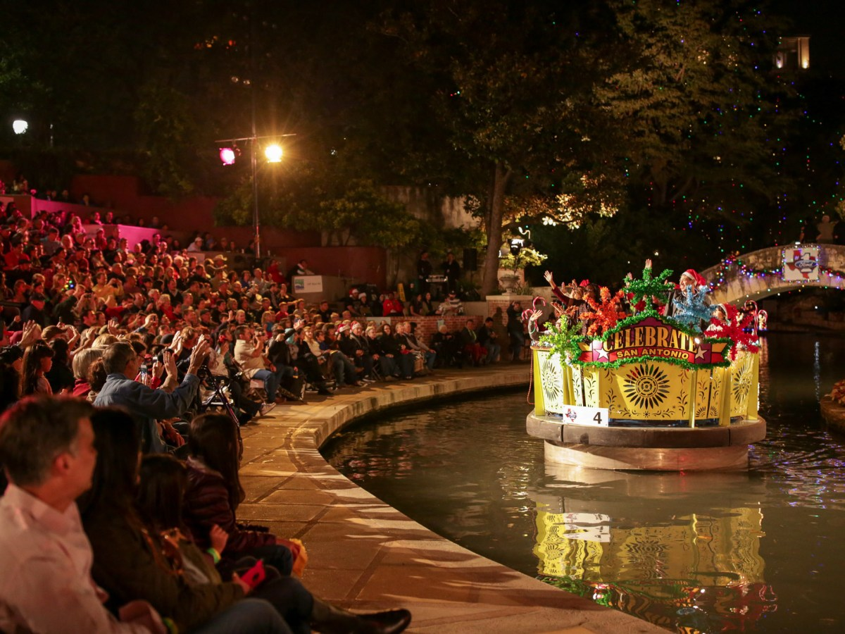 The new design river barge featuring a Celebrate San Antonio theme.