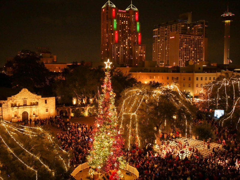 The view of Alamo Plaza after the lighting ceremony.