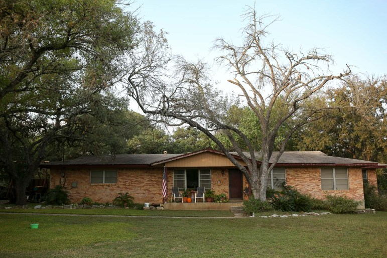 A dying oak tree fronts the entrance to a Hollywood Park house.