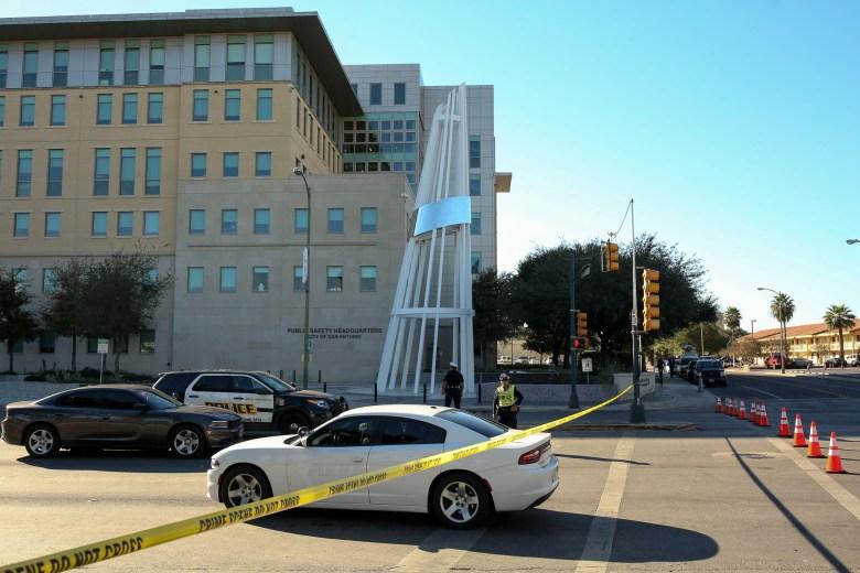 Santa Rosa Avenue is blocked by San Antonio Police Officers following the shooting of San Antonio Police Detective Benjamin Marconi.