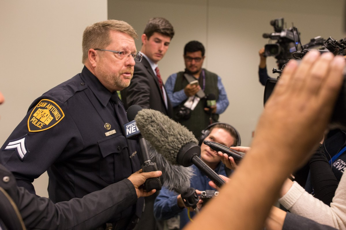 SAPOA President Mike Helle gives remarks following the deadly shooting of San Antonio Police Officer Benjamin Marconi.