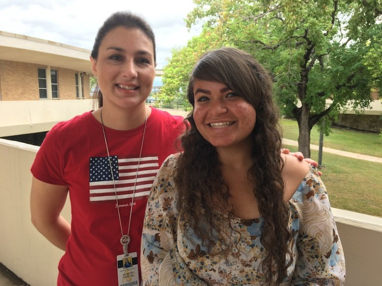 Jennifer Harkins and Selena Diaz at Holmes High School. Bekah McNeel / Rivard Report