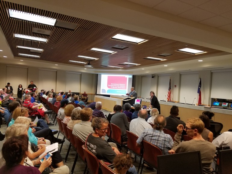 It was standing room only during most of the meeting were neighbors learned about a proposed parking permit program in Southtown.