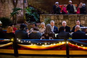Mayor Ivy Taylor and Her Royal Highness Princess Astrid of Belgium and His Excellency Pieter De Crem take a ride along the Riverwalk.