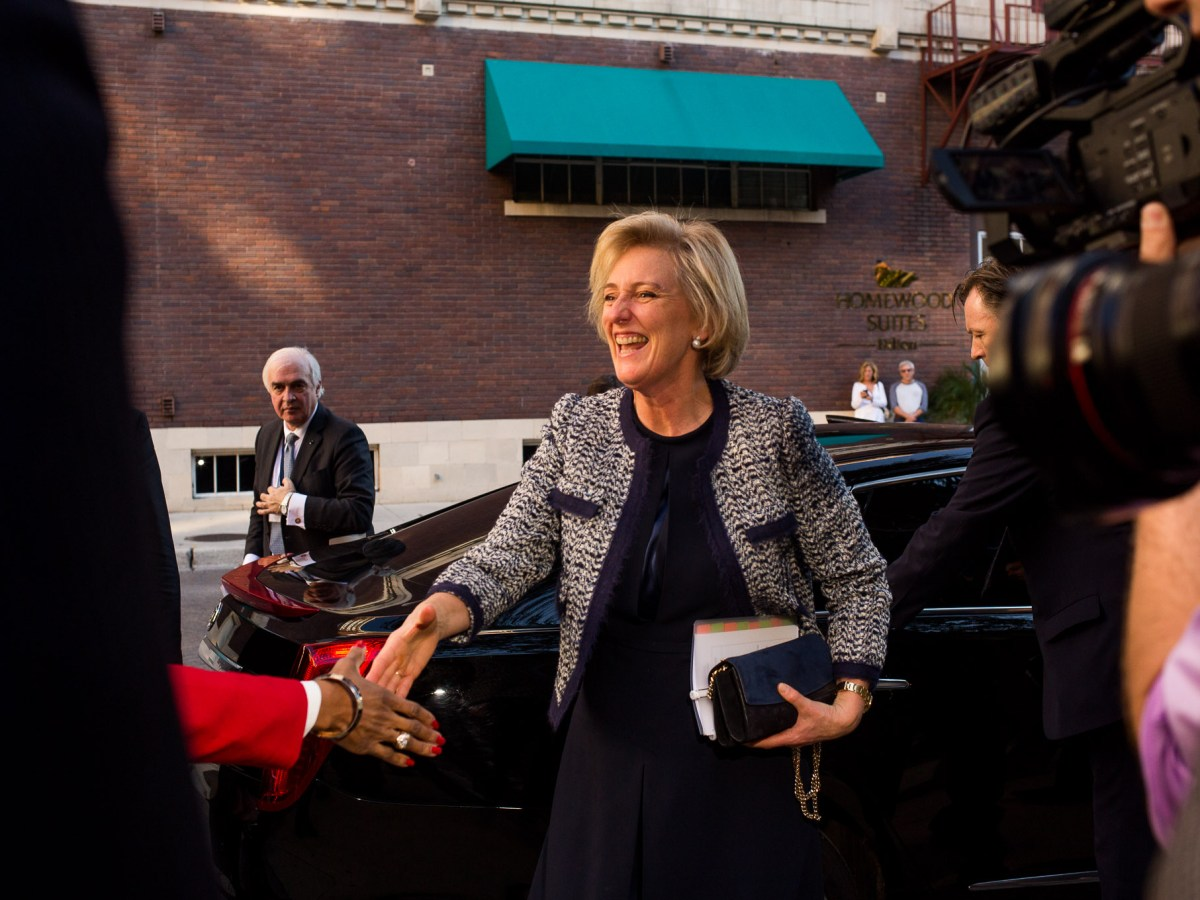 Her Royal Highness Princess Astrid of Belgium steps out of her car to greet Mayor Ivy Taylor.