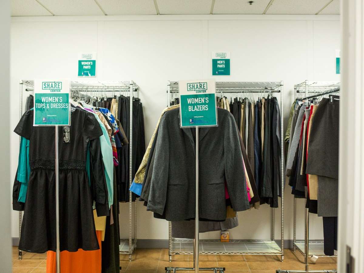 Women and men's clothing from Goodwill Clothes Closet is available for students' professional needs.