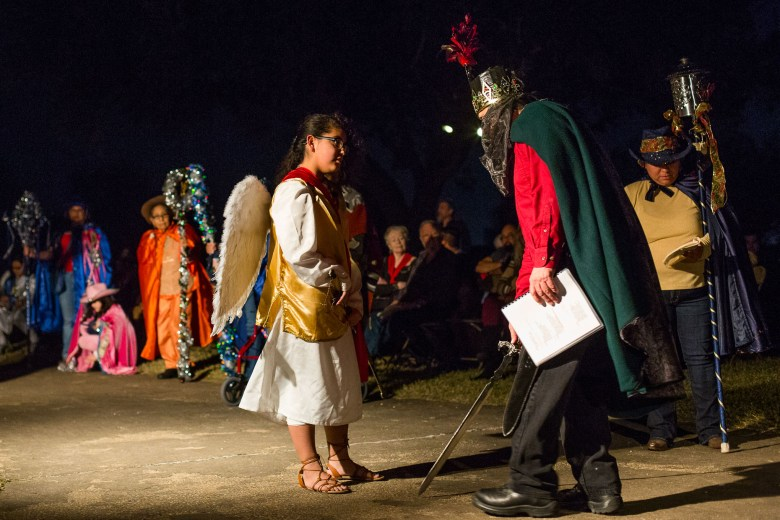 San José is greeted by an arch angle during the production of Los Pastores: The Shepherds Play at Mission San José.