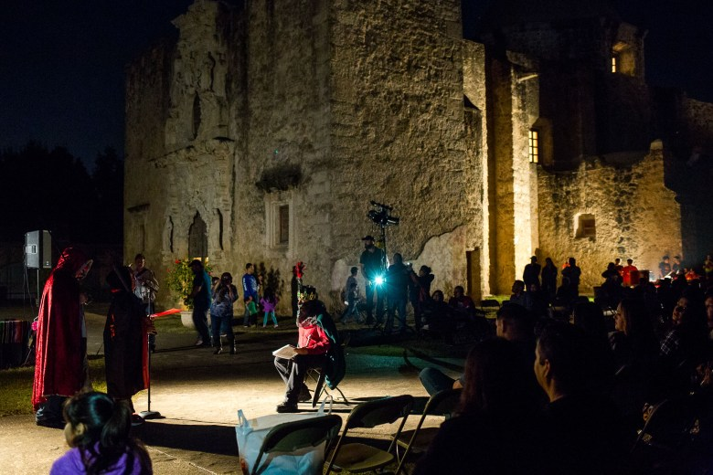 Lights light up the production of Los Pastores: The Shepherds Play at Mission San José.