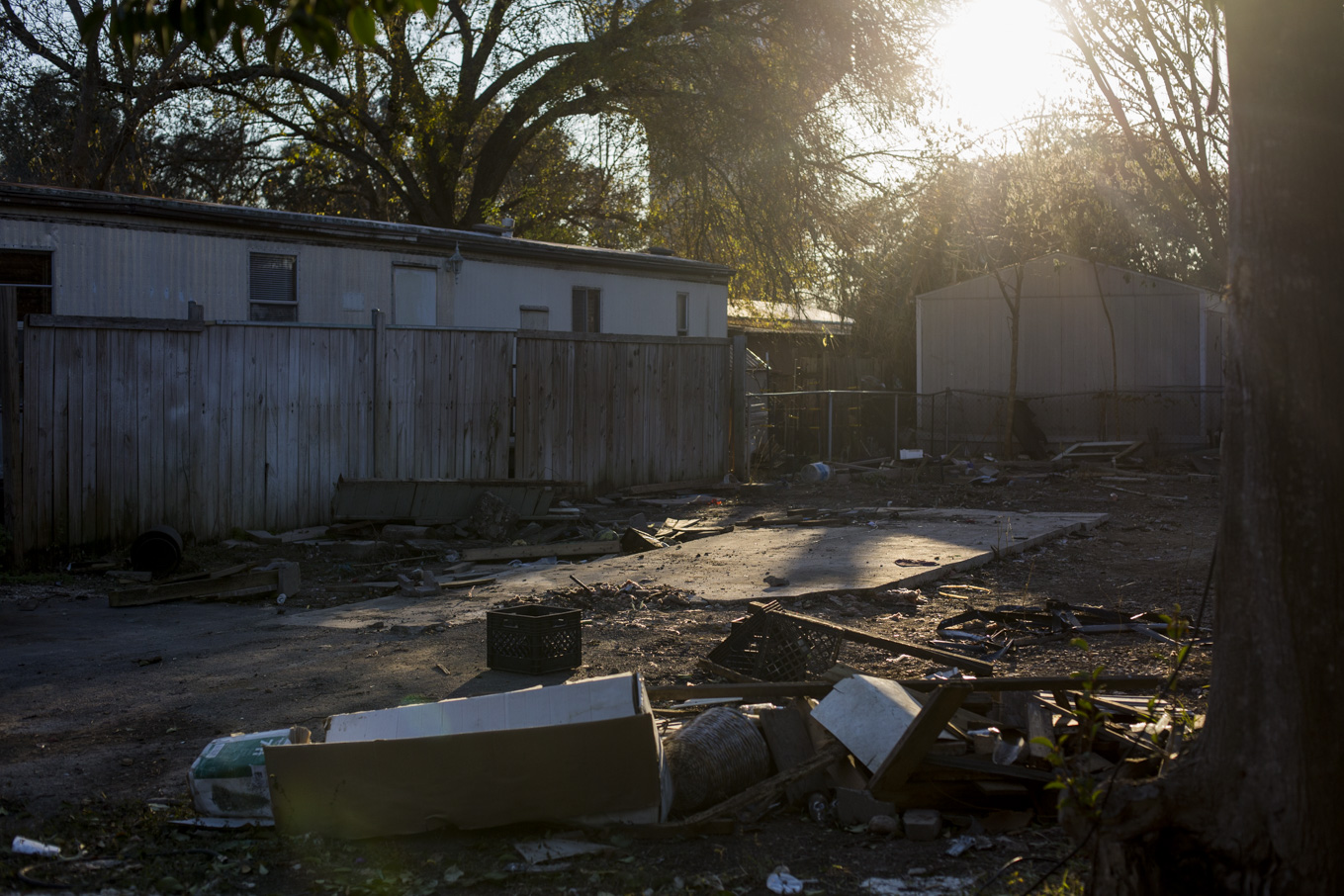 An empty lot at Oak Hollow Mobile Home Park from someone who moved out because of the many health hazards.