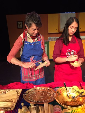 Monika Maeckle and Ashley Cortez making tamales at the Guadalupe.