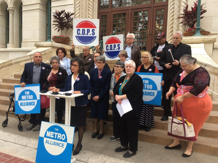 COPS/Metro Alliance Co-chair Maria Tijerina shares the organization's recommendations for the housing bond at a small press conference on the City Hall steps.