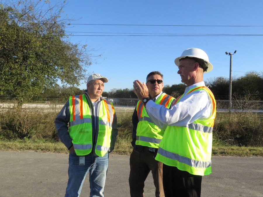 From left: SAWS President and CEO Robert Puente, Vice President of Communications and External Affairs Gavino Ramos, and COO and Senior Vice President Steve Clouse discuss the action plan for repairing a sinkhole caused by ruptured pipes at Quintana Road in 2016.