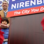 Ron Nirenberg and his son Jonah smile following his announcement to run for mayor of San Antonio.