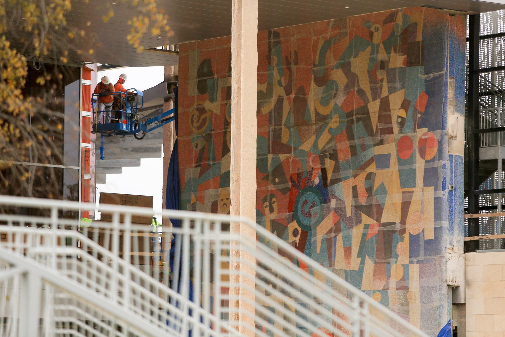The mural by artist Carlos Mérida is wrapped during construction of the Henry B. Gonzalez Convention Center.