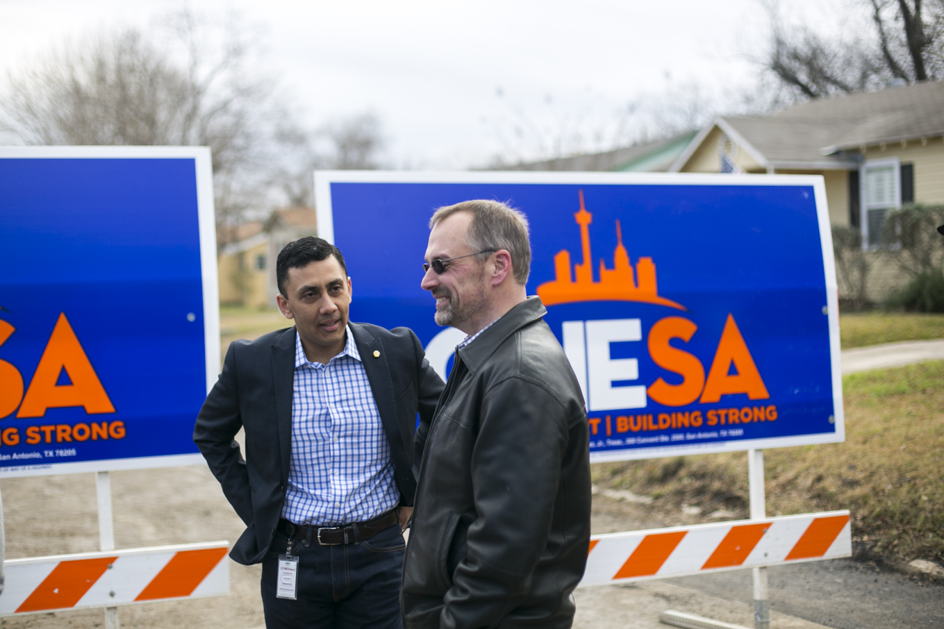 From left: Councilman Cris Medina (D7) speaks with OneSA Campaign Manager Christian Archer.