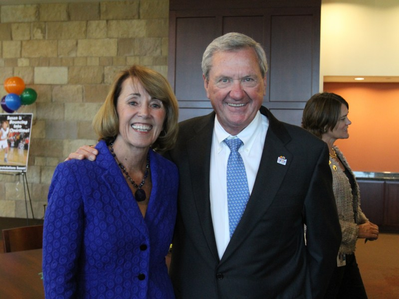 Susan Blackwood and Nu Star Energy CEO Bill Greehey at her retirement party in 2013.