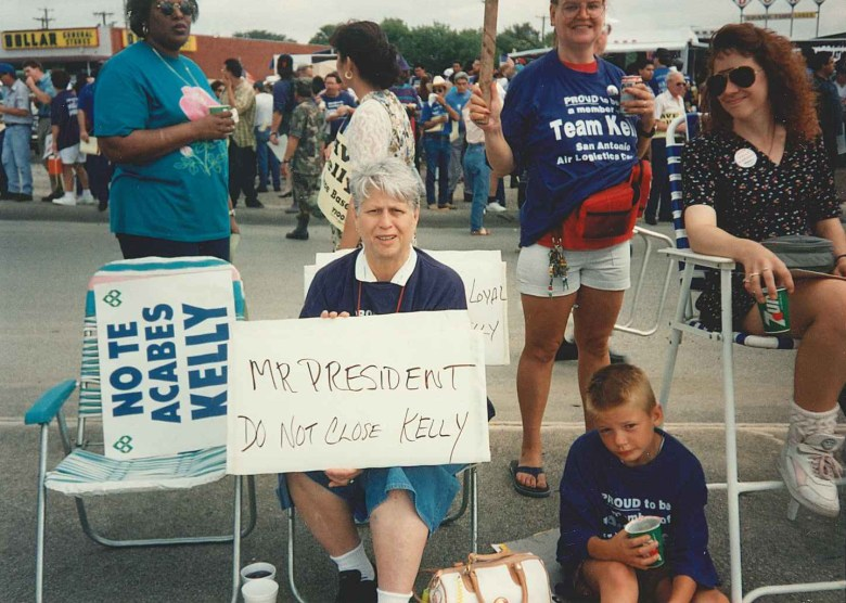 Kelly Air Force Base workers protest the BRAC 1995 decision to close the base.