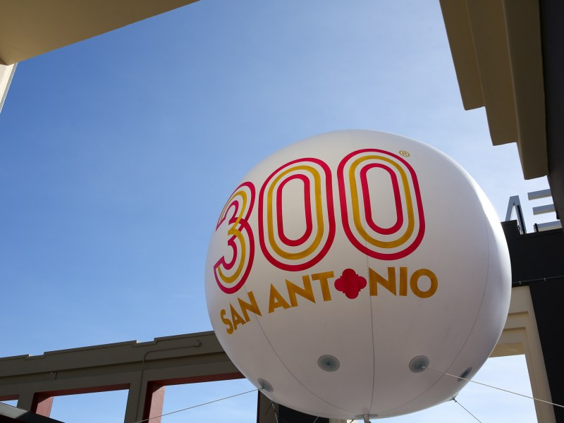 The Tricentennial Commission balloon made an appearance at the entrance to the Santikos Emabassy 14.