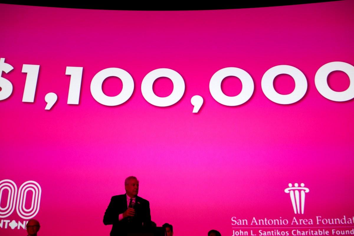 San Antonio Area Foundation President and CEO Dennis Noll announces the big gift.