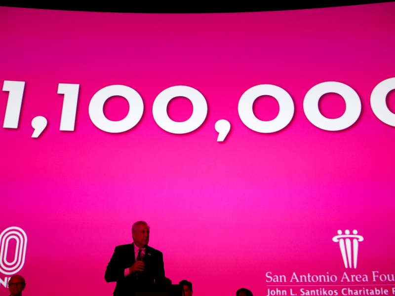 San Antonio Area Foundation President and CEO Dennis Noll announces the big gift.