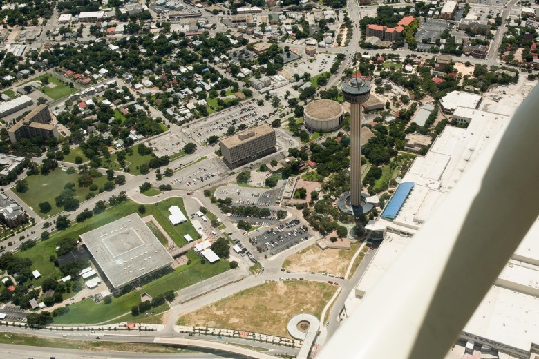 The Institute of Texan Cultures (bottom left) from an aerial view taken in June of 2016.