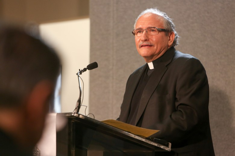 Auxiliary Bishop-elect Michael Joseph Boulette gaves remarks to the recent announcement.