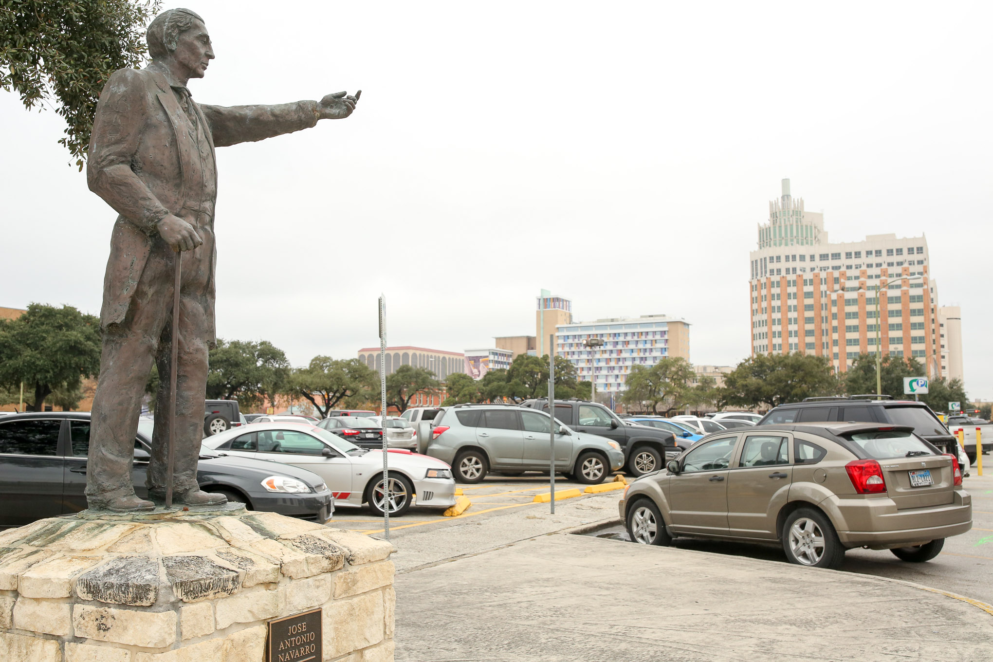 A statue of José Antonio Navarro stands across the street from Casa Navarro.