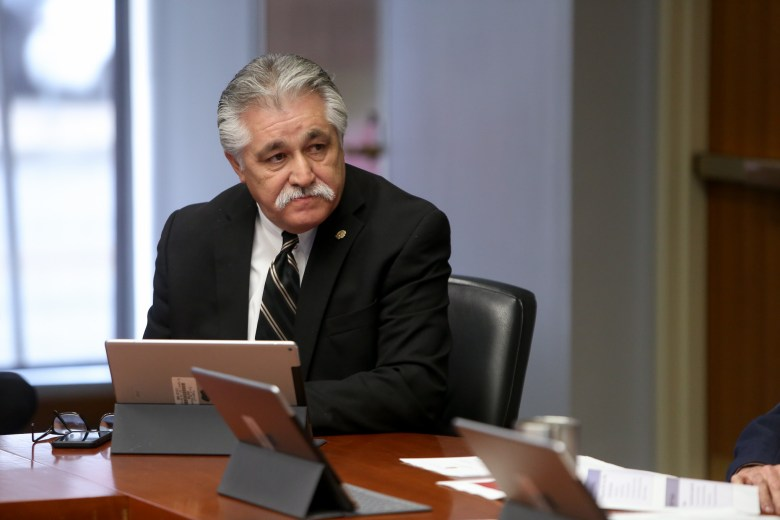 Councilman Ray Lopez (D6) looks over to his colleagues after questioning Police Chief William McManus.