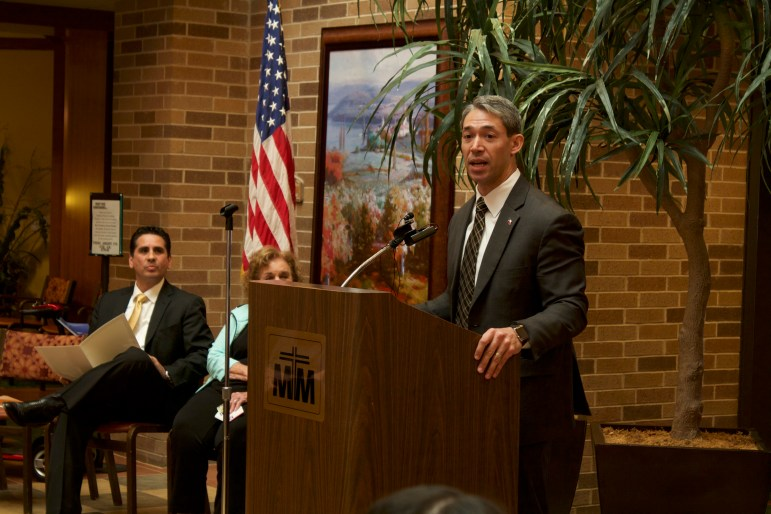 Mayoral candidate Ron Nirenberg (D8) talks to the residents at Morningside Ministries at The Meadows about his vision for San Antonio.