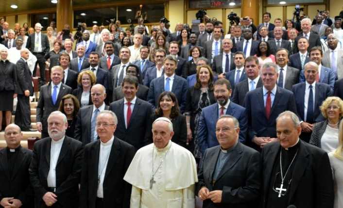 Pope Francis met with mayors in 2015 during talks on climate change, human trafficking and sustainable development.