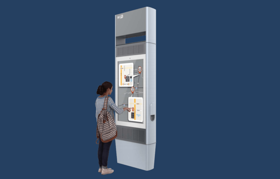 Renderings of the CIVIQ WayPoint Smartscape device show its wayfinding and touch-screen capabilities.