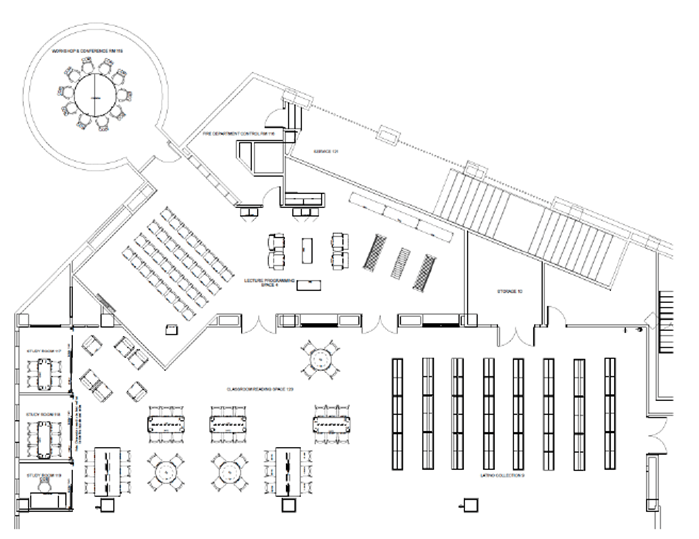 The floor plan of the new Latino Collection space at the Central Library.