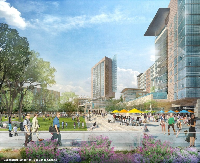 Preliminary rendering of office, retail, and hotel buildings in Civic Park.