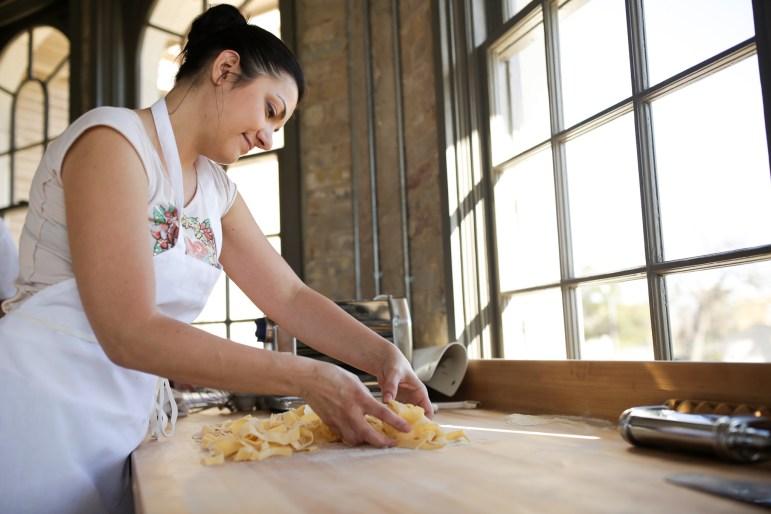 Elena D'Agostino from Italy makes fresh pasta at Battalion.