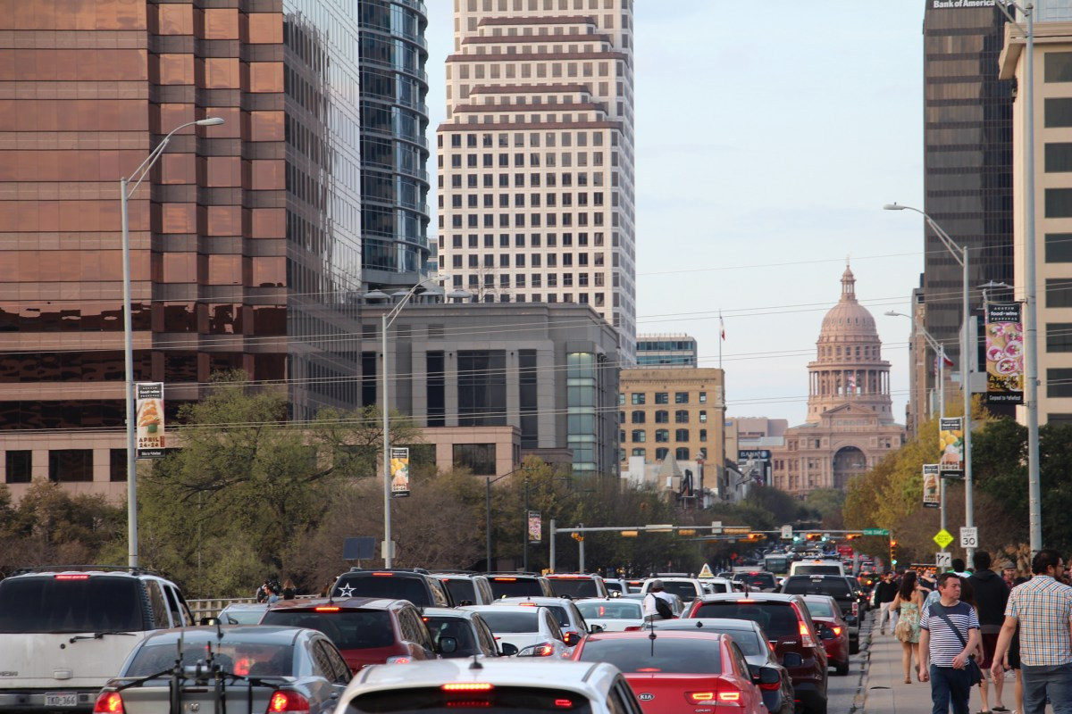 Traffic along Congress Avenue in Austin Texas.